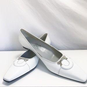 Salvatore Ferragamo White Kitten Block Heels Sz 9B